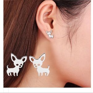 Jewelry - 3 Dainty Puppy Dog Chihuahua stud earrings